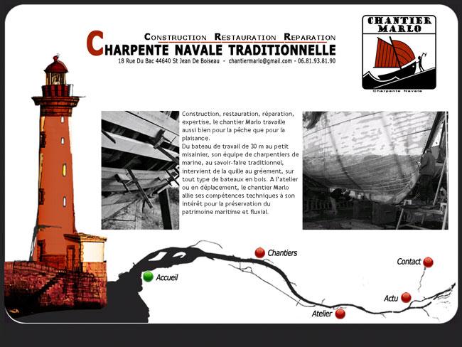 Création du site internet – Chantier Marlo – Charpente navale traditionnelle