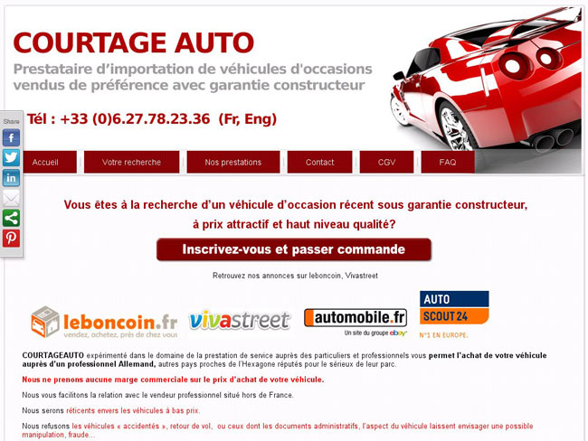 cr ation du site internet courtage auto cms wordpress cr ation site internet agence web nantes. Black Bedroom Furniture Sets. Home Design Ideas